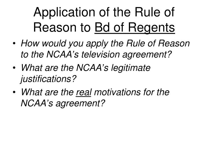 Application of the Rule of Reason to