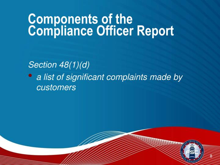 Components of the Compliance Officer Report
