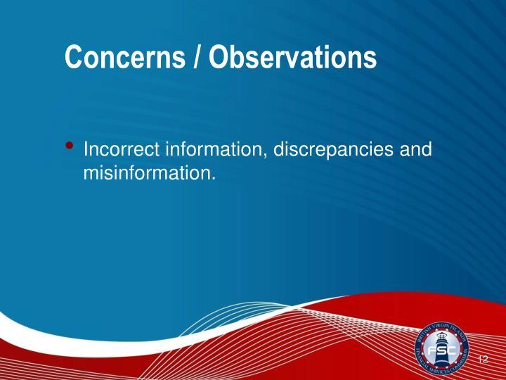Concerns / Observations