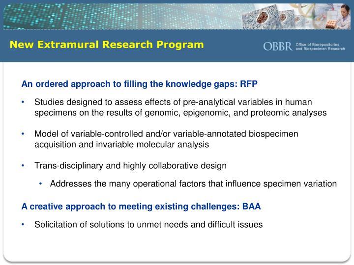 New Extramural Research Program