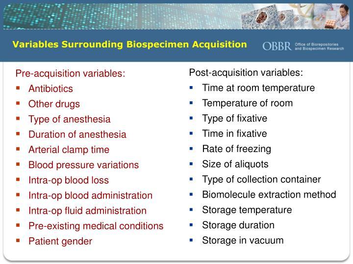 Variables Surrounding Biospecimen Acquisition