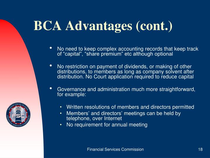 BCA Advantages (cont.)