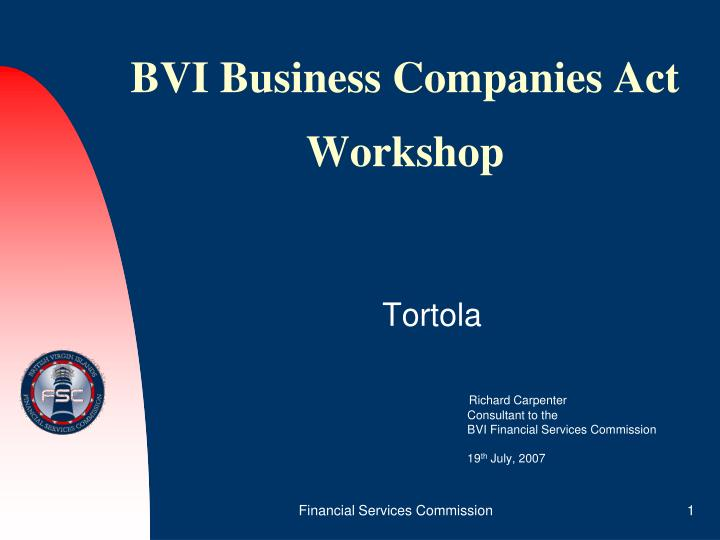 Bvi business companies act workshop