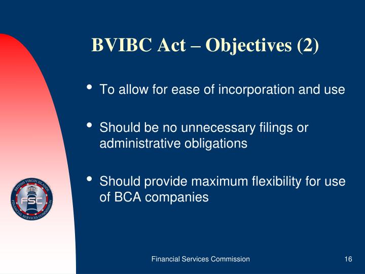 BVIBC Act – Objectives (2)