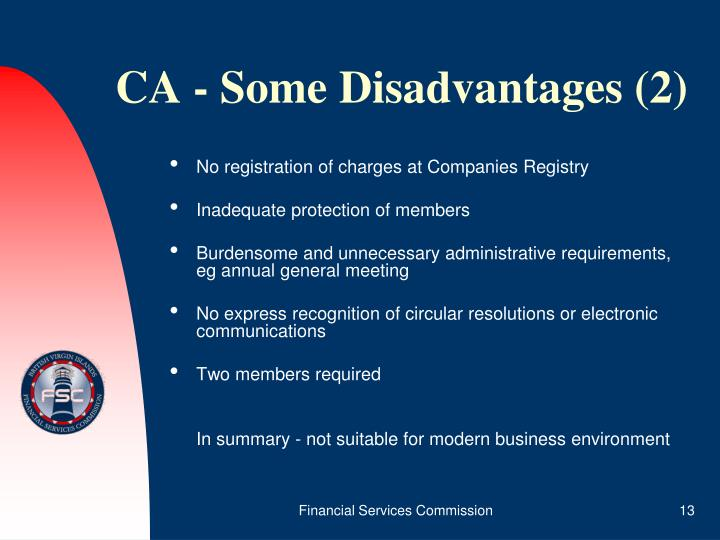 CA - Some Disadvantages (2)