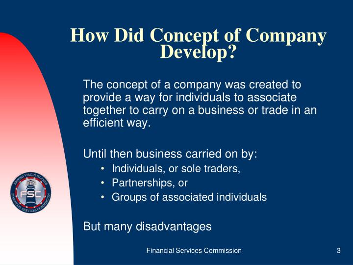 How did concept of company develop