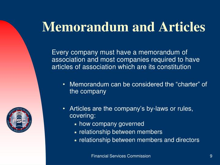Memorandum and Articles
