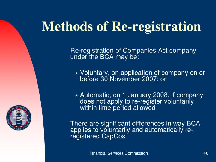 Methods of Re-registration