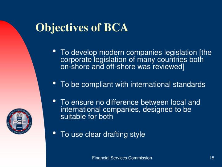 Objectives of BCA