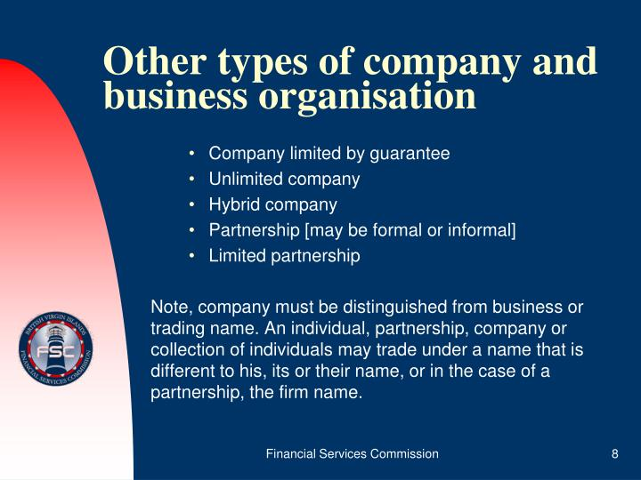 Other types of company and business organisation