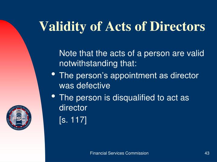 Validity of Acts of Directors
