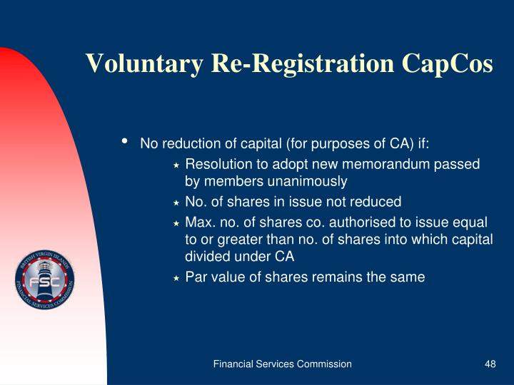 Voluntary Re-Registration CapCos
