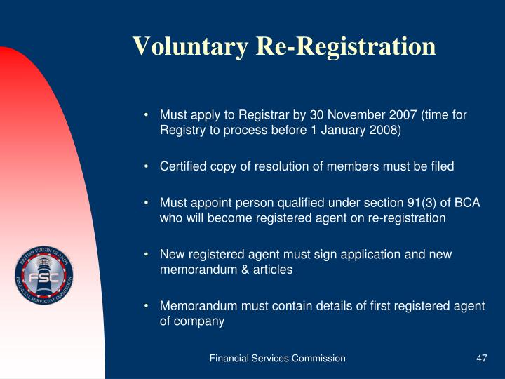 Voluntary Re-Registration