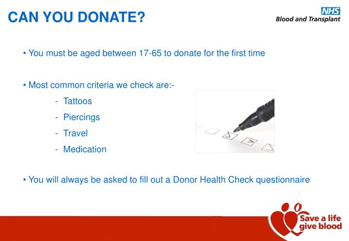 CAN YOU DONATE?