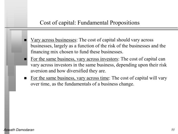 Cost of capital: Fundamental Propositions