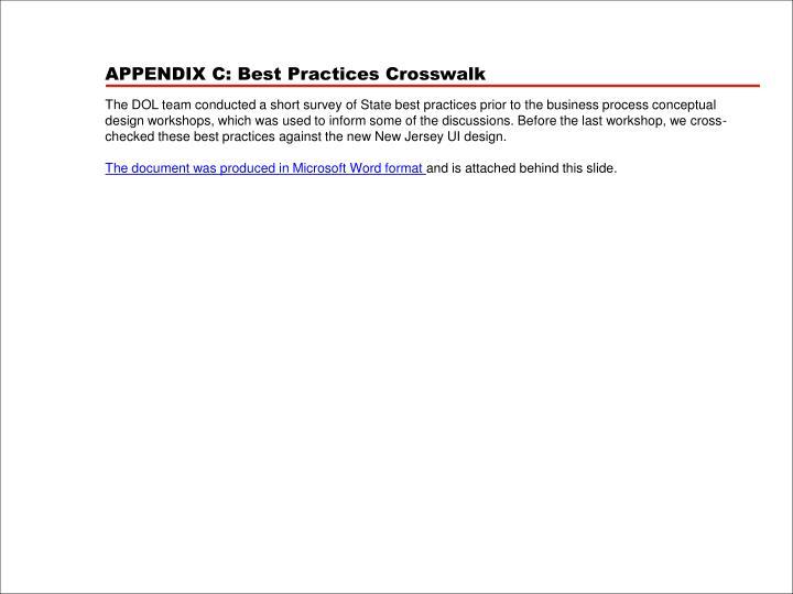 APPENDIX C: Best Practices Crosswalk
