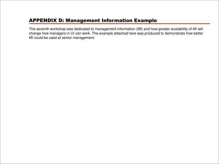 APPENDIX D: Management Information Example