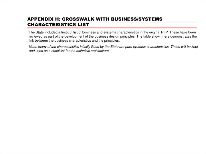 APPENDIX H: CROSSWALK WITH BUSINESS/SYSTEMS CHARACTERISTICS LIST