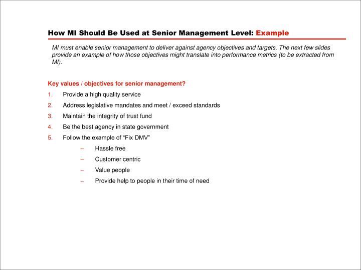 How MI Should Be Used at Senior Management Level: