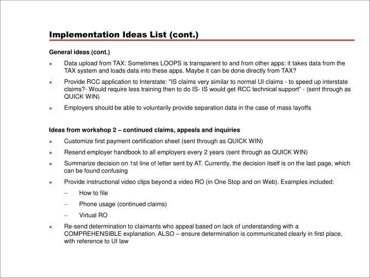 Implementation Ideas List (cont.)