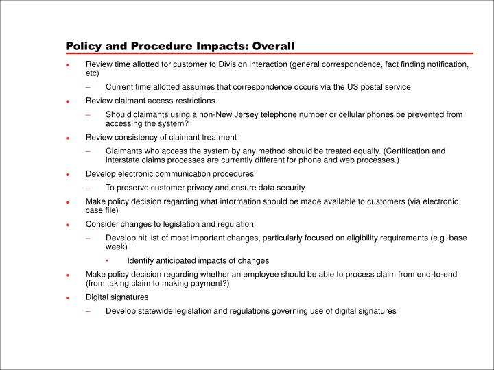 Policy and Procedure Impacts: Overall