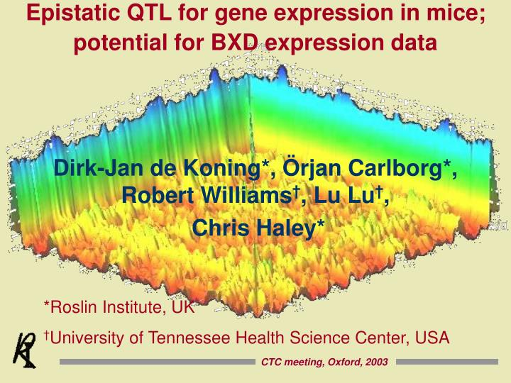 Epistatic QTL for gene expression in mice; potential for BXD expression data