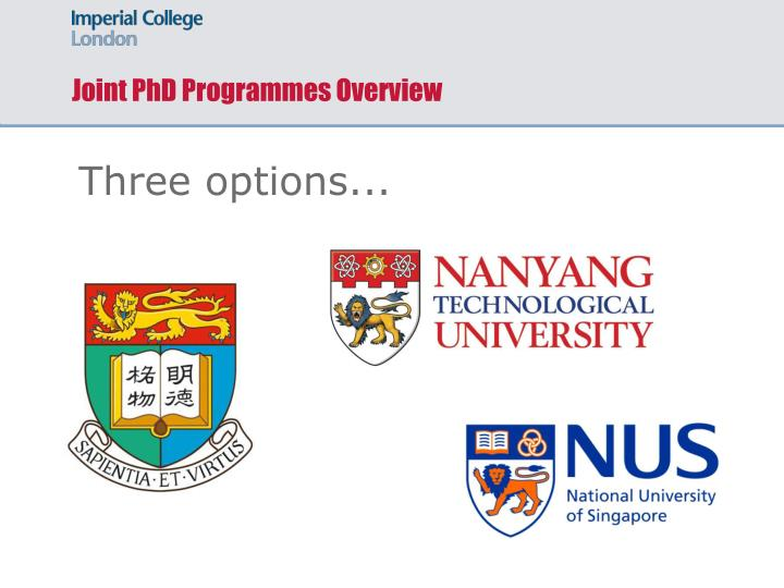 Joint phd programmes overview