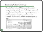 boundary value coverage