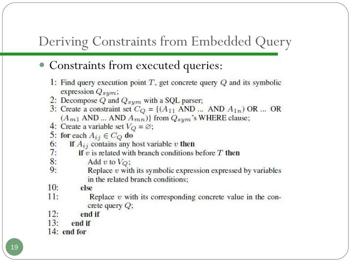 Deriving Constraints from Embedded Query