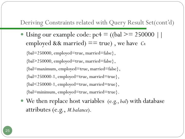Deriving Constraints related with Query Result Set(cont'd)