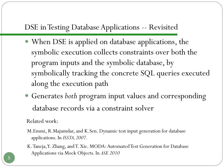 DSE in Testing Database Applications -- Revisited