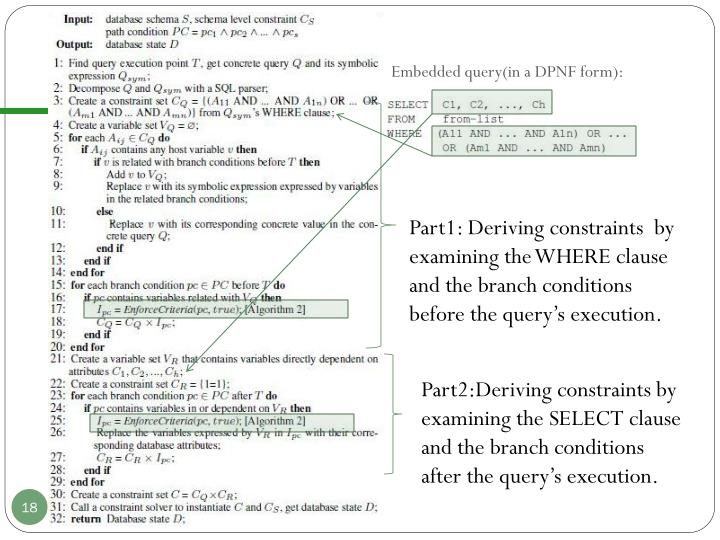 Embedded query(in a DPNF form):
