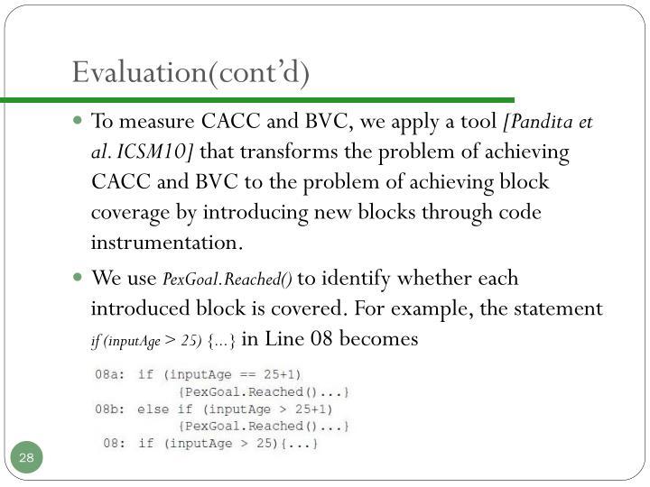 Evaluation(cont'd)