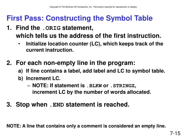 First Pass: Constructing the Symbol Table
