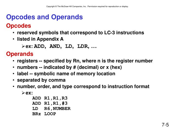 Opcodes and Operands