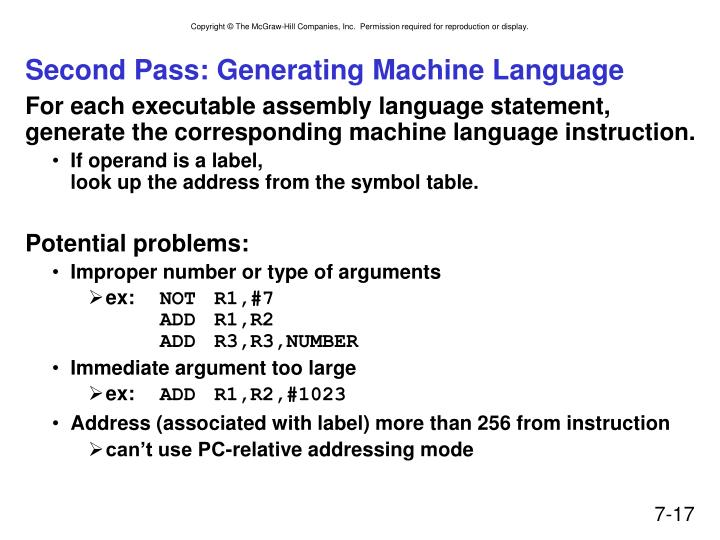Second Pass: Generating Machine Language