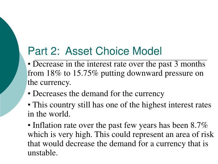 Part 2:  Asset Choice Model