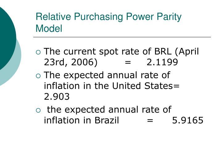 Relative Purchasing Power Parity Model