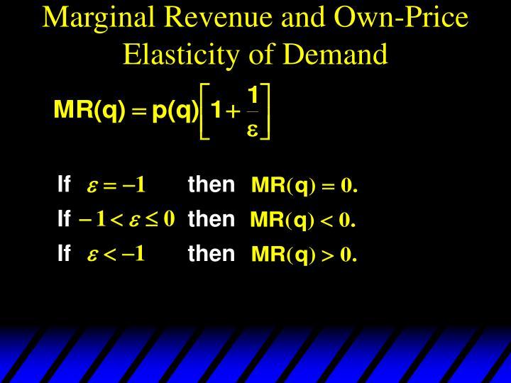 Marginal Revenue and Own-Price Elasticity of Demand