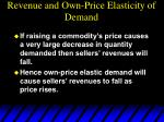 revenue and own price elasticity of demand1