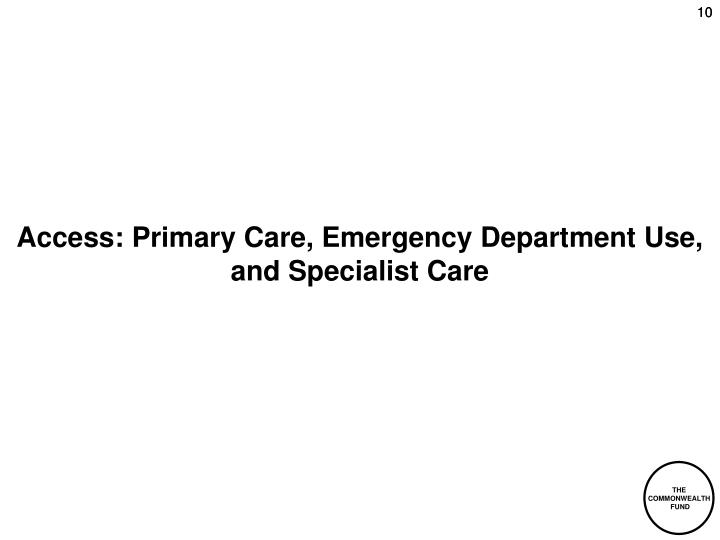 Access: Primary Care, Emergency Department Use, and Specialist Care