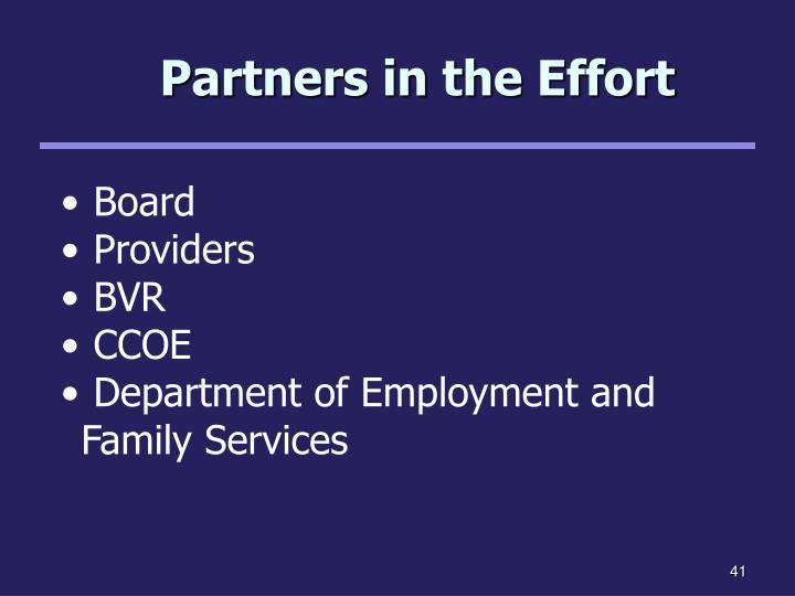 Partners in the Effort