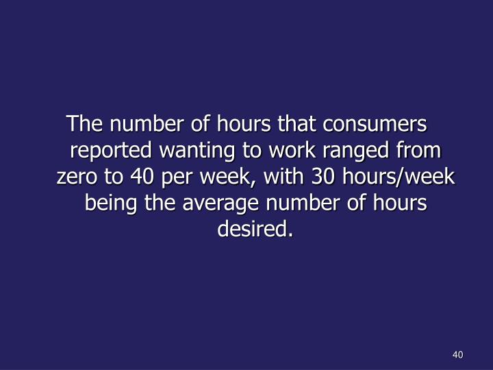 The number of hours that consumers reported wanting to work ranged from zero to 40 per week, with 30 hours/week being the average number of hours desired.