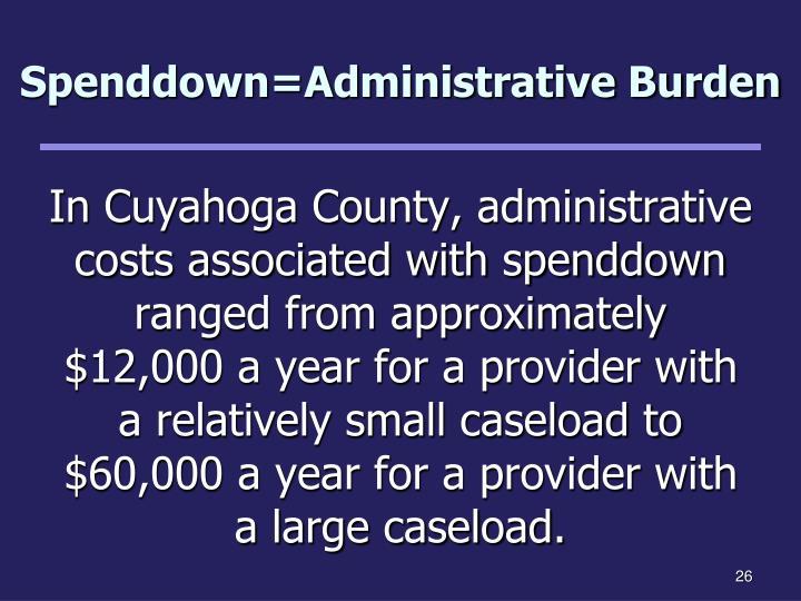 Spenddown=Administrative Burden