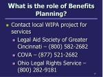 w hat is the role of benefits planning1