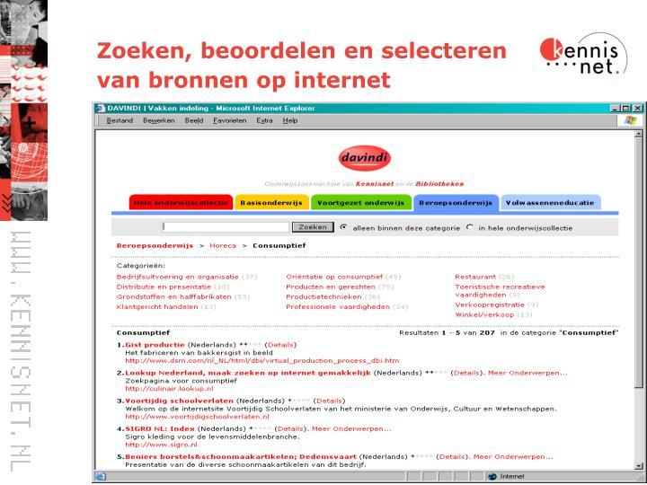 Zoeken, beoordelen en selecteren van bronnen op internet