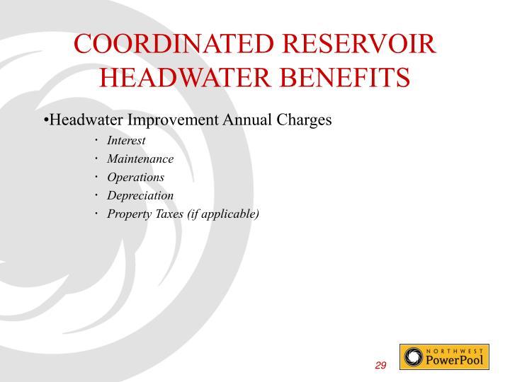 COORDINATED RESERVOIR HEADWATER BENEFITS