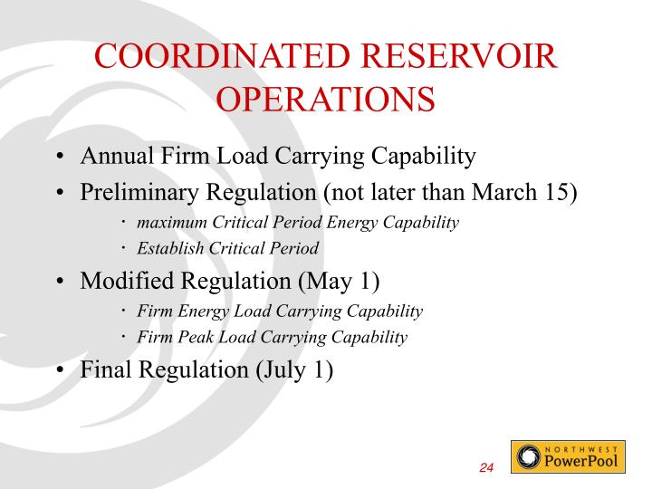 COORDINATED RESERVOIR OPERATIONS