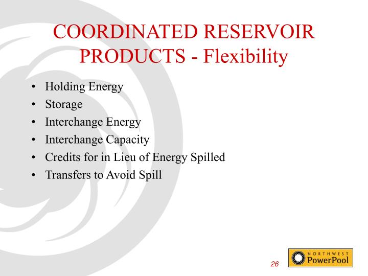 COORDINATED RESERVOIR PRODUCTS - Flexibility