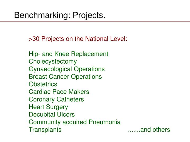 Benchmarking: Projects.